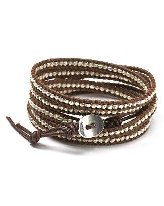 Chan Luu Sterling Silver Nugget Leather Wrap Bracelet