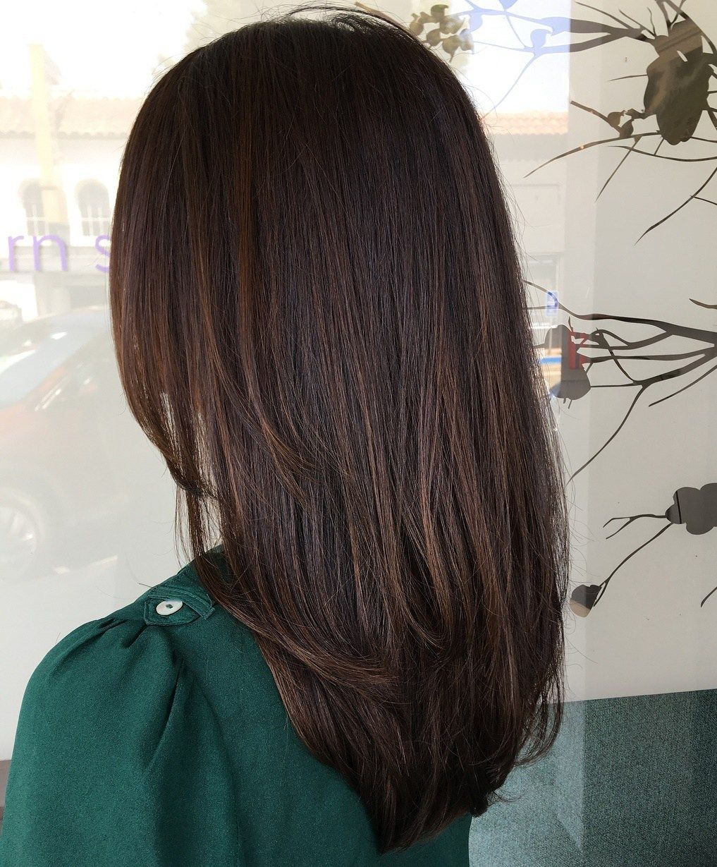 Straight Dark Brown Highlighted Hairstyle Hair Highlights Hair Styles Brown Blonde Hair