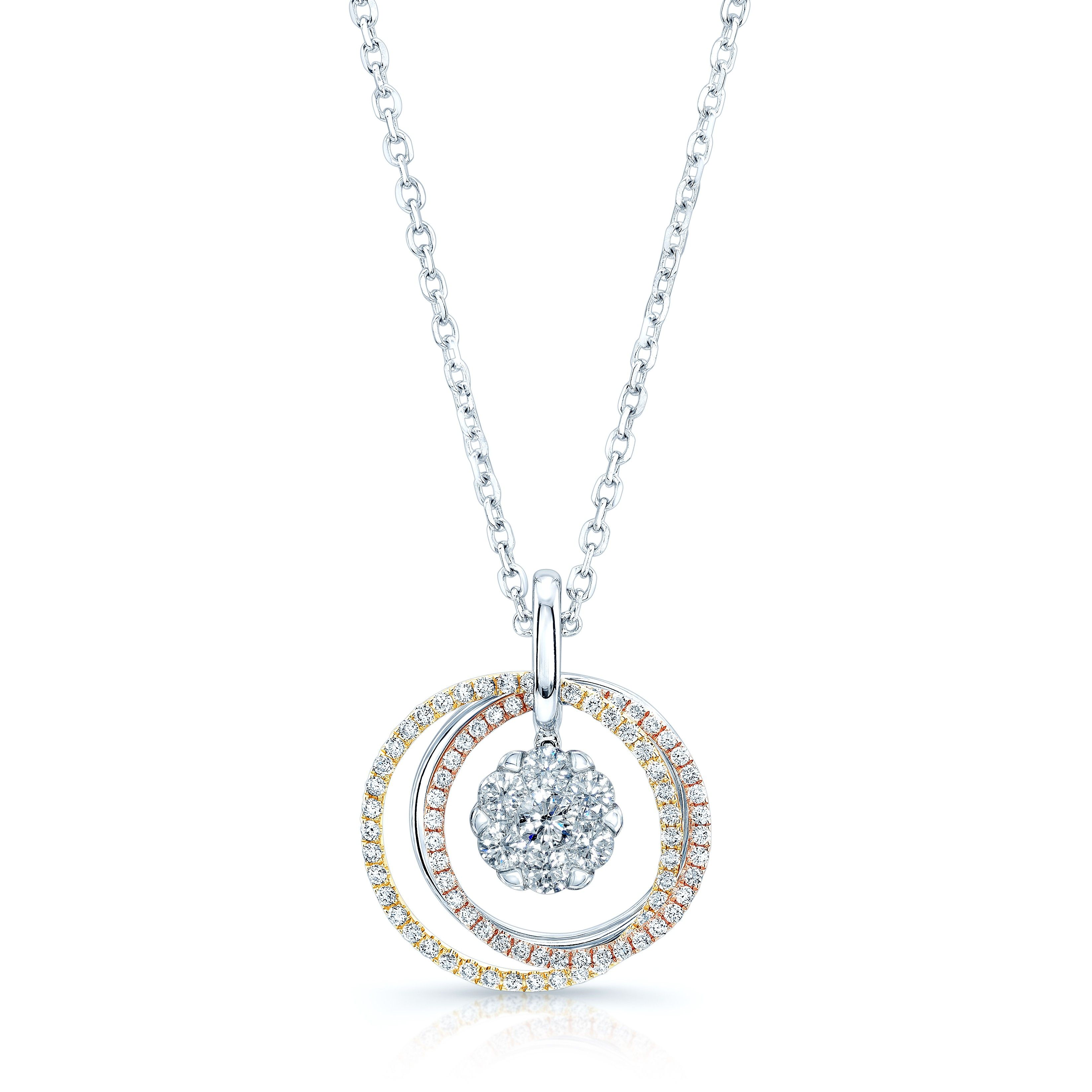 Amazing Diamond Pendant - Ziva Necklace 1.78 Total Diamond Weight Conflict Free Round Brilliant Cut Diamonds Diamond Color - Near Colorless (G, H, I)  Diamond Clarity - VS/SI Clarity Coronet Solitaire Patented Cluster 14 Karat White, Rose, & Yellow Gold Item# FM51863WEB-275E