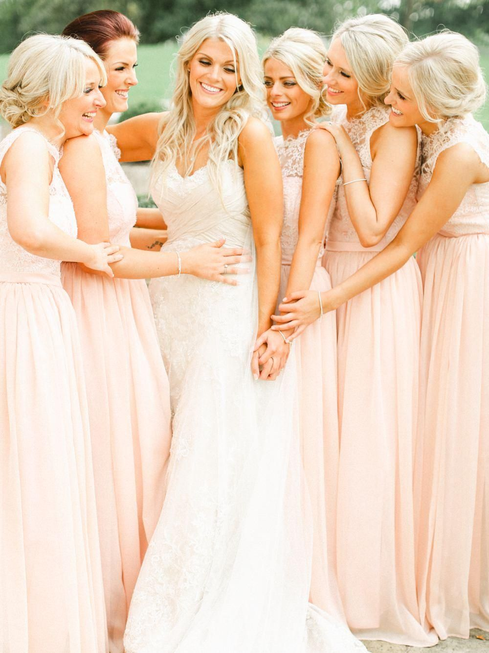 Bridesmaid Dresses 2016 New Cheap Jewel Neck Sheer Lace Chiffon Pink Long For Wedding Plus Size Long Beach Party Gowns Vestidos Under 100 Online with $94.25/Piece on Haiyan4419's Store | DHgate.com