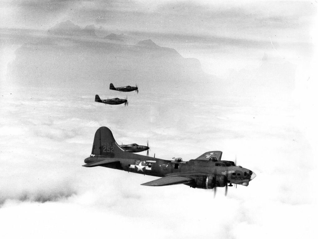 A Stateside YB-40 with RP-63 escorts