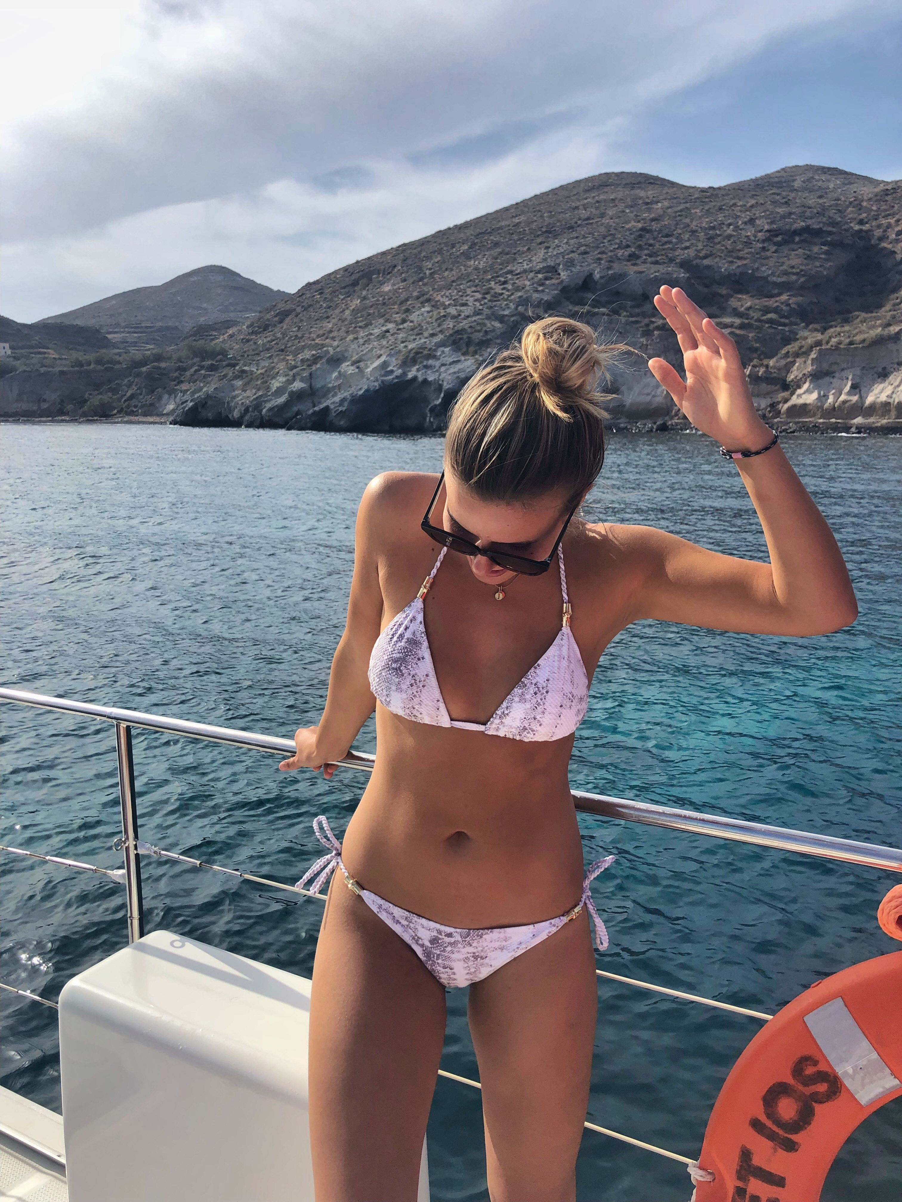 2de7ab96ca Heidi Klein Core Snake Padded Triangle Bikini #Blogger #Santorini #Greece  #Yacht #LuxuryLifestyle