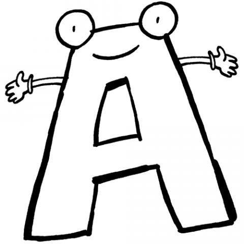 Desenho Da Letra A Com Carinha Para Pintar Letras Del Abecedario Letras Divertidas Trazos De Letras