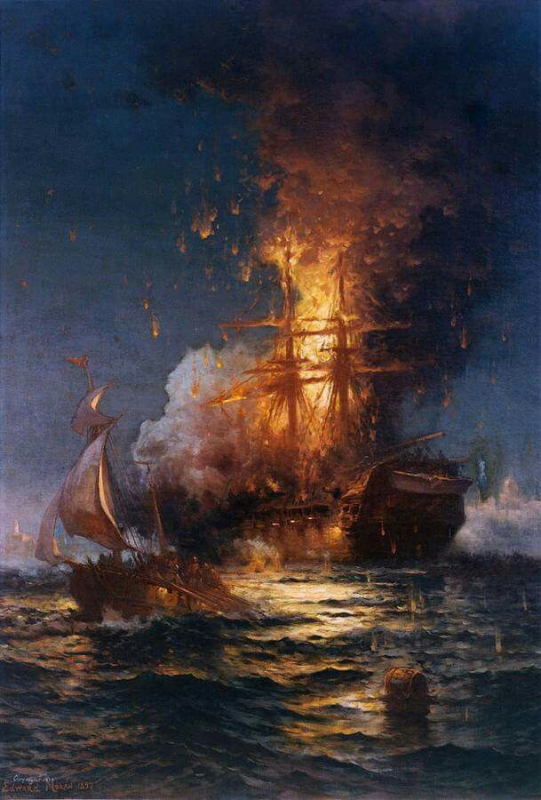 Edward Moran  - Burning Of The Frigate Philadelphia In The Harbor Of Tripoli