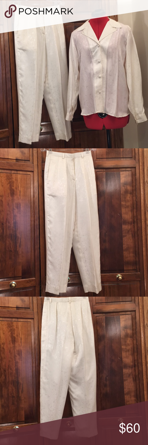 Custom made women's white pantsuit. Custom made women's white pantsuit, no tags, one small dark mark on front of shirt at bottom, very nice condition. Other #whitepantsuit