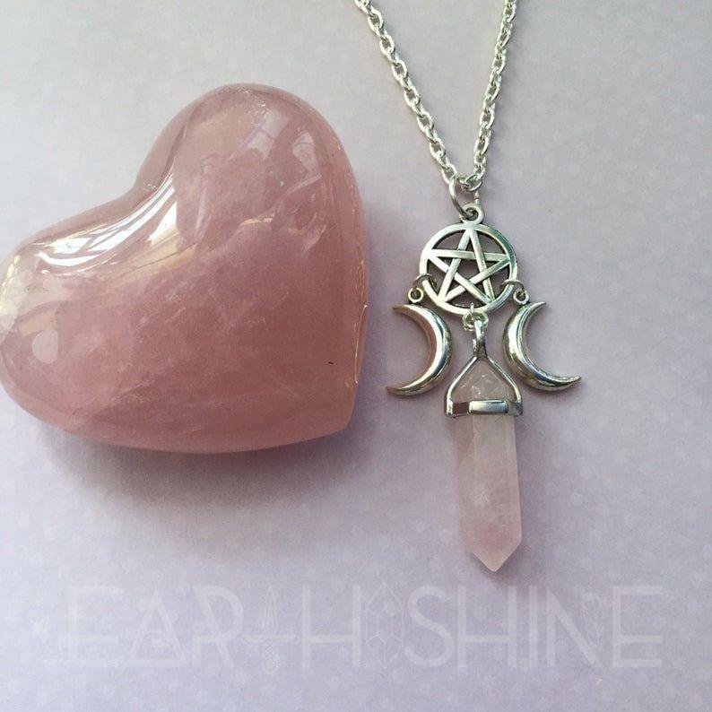 Triple Moon Pendant Rose Quartz Witch Pendant
