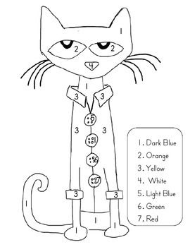 Color By Number With Pete The Cat Pete The Cat Pete The Cats Cat Colors