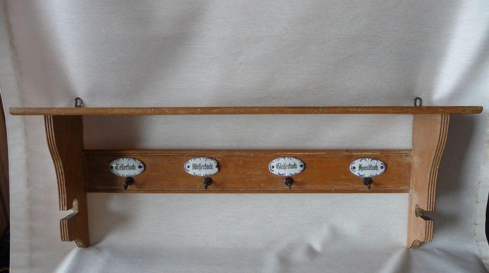 Altes Küchenregal, Regal antik, Holz Porzellan Wandregal - halter für küchenrolle