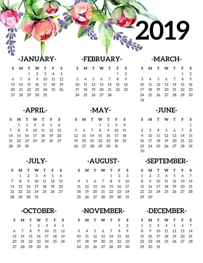 Free Printable 2019 Calendar Yearly One Page Floral Diy And Crafts