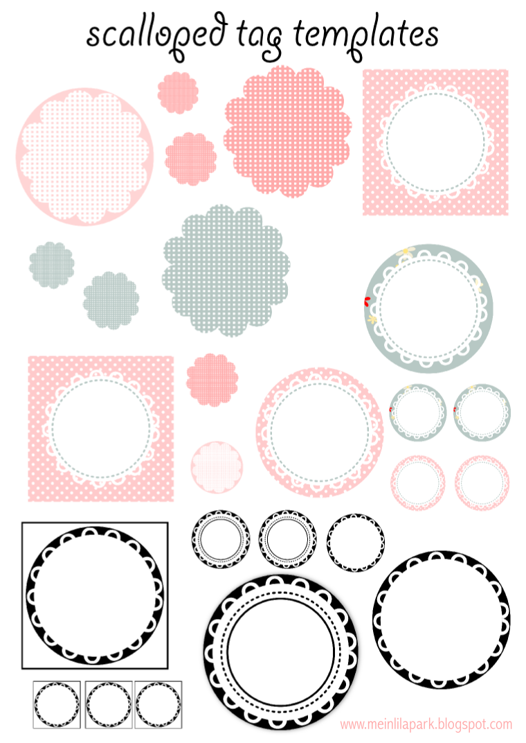 printable tag templates for coloring or diy tags today i created these printable scalloped circle tags templates for you some of the scalloped circle tags and stickers are simply