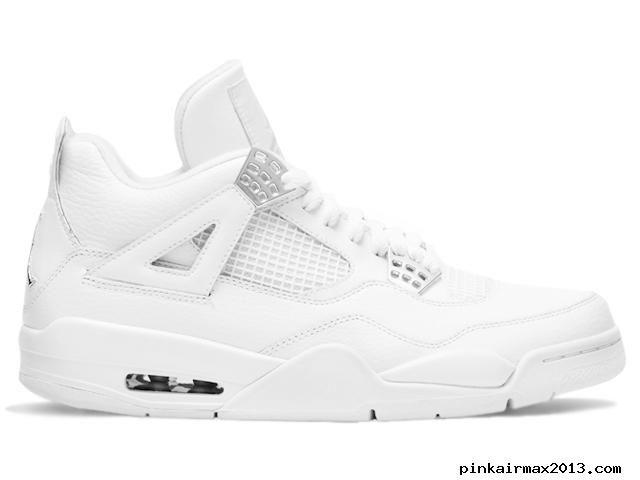 Air Jordan 4 Retro White Metallic Silver Men's Sports Shoes