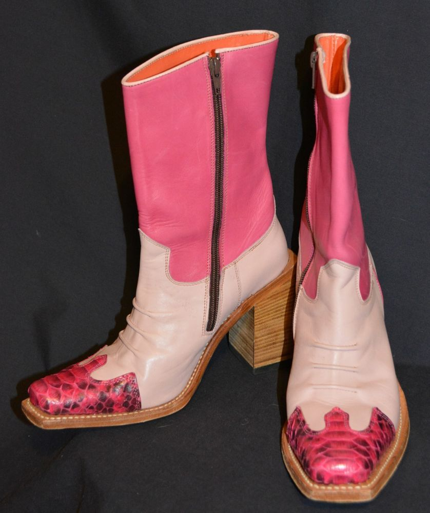 86676438b91 Pink leather high end designer Cowboy Boots Judy Rothchild R. Soles ...