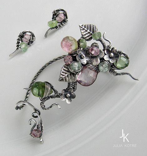 """Silver wire wrapped ear wrap and studs with tourmaline """"Bl… 