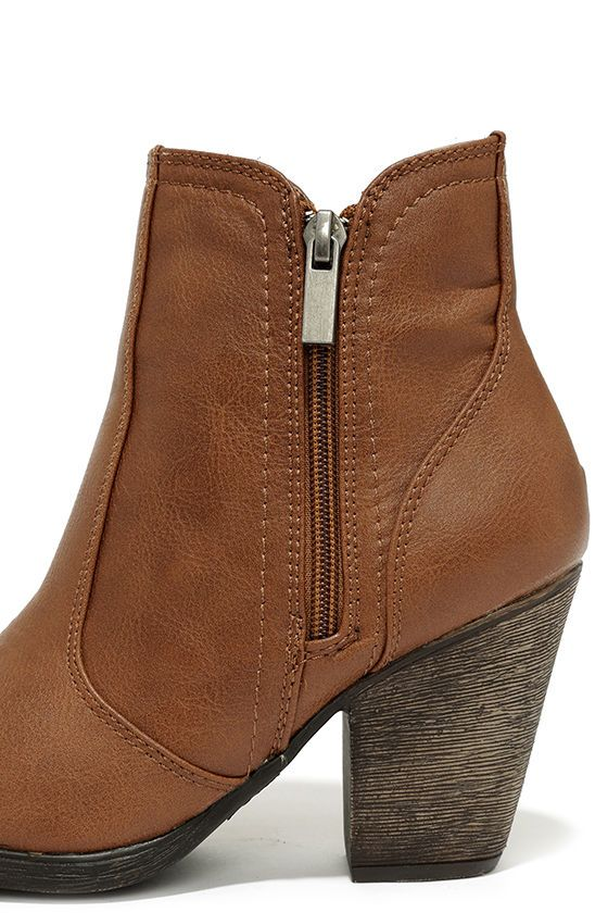 08a8a917910c Vegan leather · Cute Brown Boots - High Heel Boots - Ankle Boots -  36.00