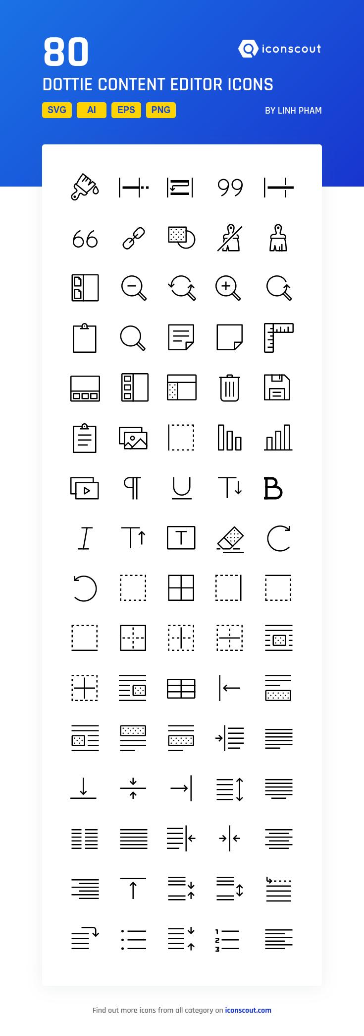 Dottie Content Editor Icon Pack 80 Line Icons 아이콘