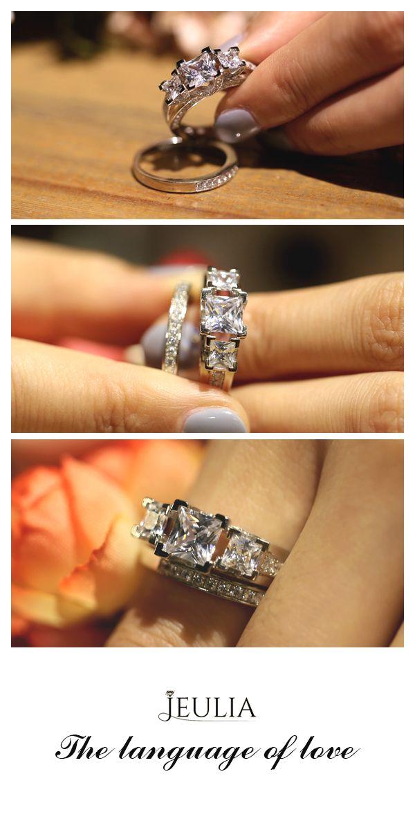 diamond three stone princess cut created white sapphire wedding set - White Sapphire Wedding Ring Sets