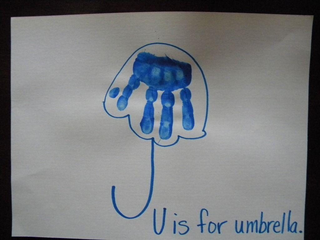 Handprint Umbrella U Is For Umbrella Kids Could Add