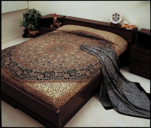 Jaipur Bagru Mandala Tapestry Tablecloth Throw Coverlet