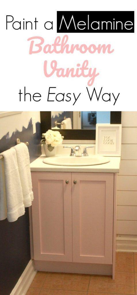 Painting A Melamine Bathroom Vanity The Easy Way Mommyzoid Bathroom Vanity Makeover Painted Vanity Bathroom Bathroom Vanity