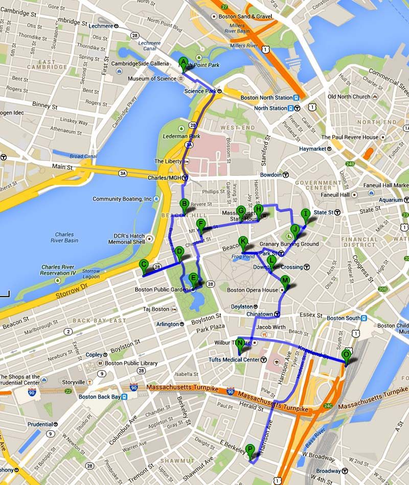 Massachusetts Boston Tourist Attractions Area B Photo: Boston Tourist Map Printable At Slyspyder.com