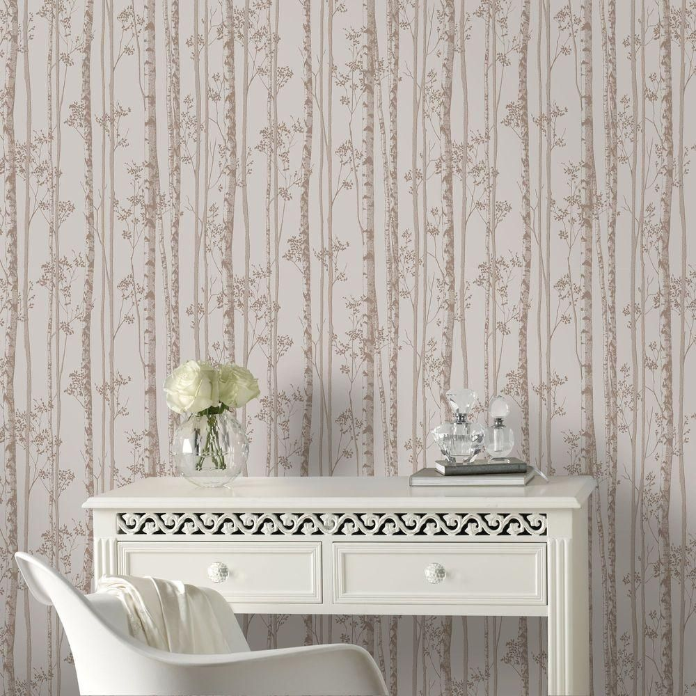 Graham Brown Taupe And White Linden Wallpaper 100522 The Home Depot Rose Gold Wallpaper Gold Wallpaper Gold Wallpaper Designs