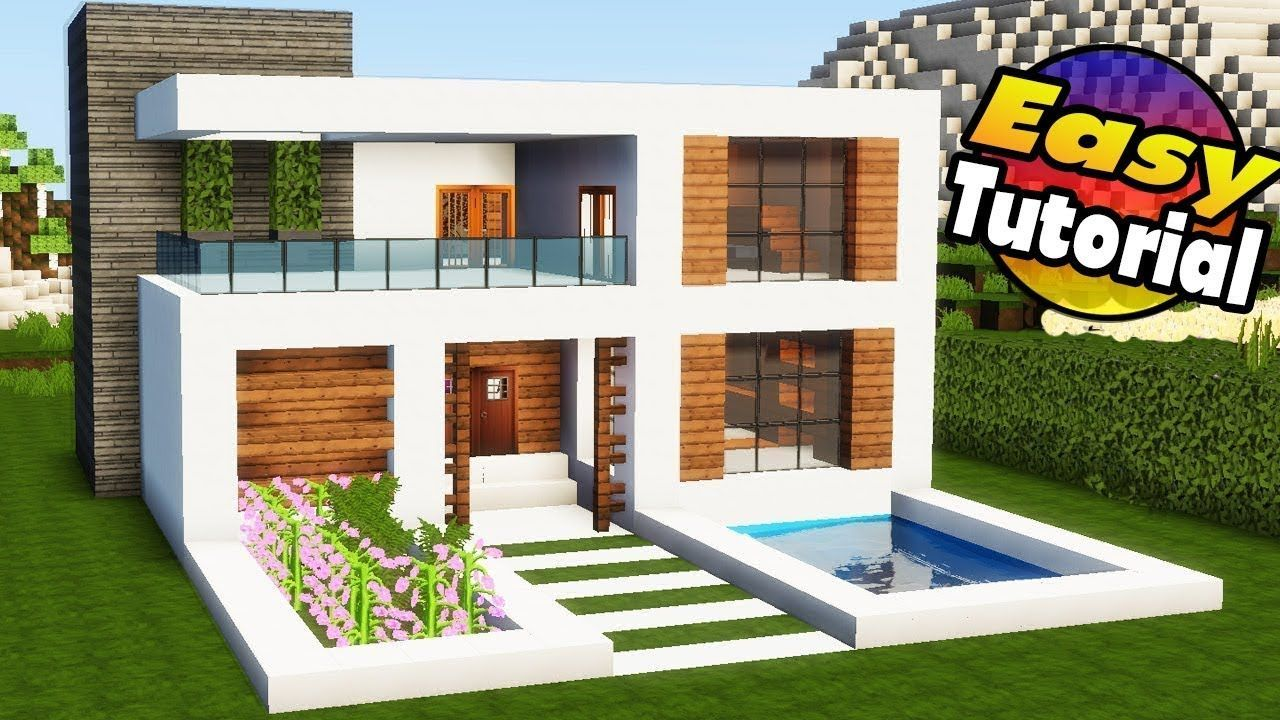 Minecraft Easy Modern House Tutorial Interior How To Build A Modern Minecraft Houses Easy Minecraft Houses Minecraft Modern