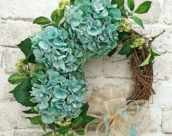 Hydrangea Wreath, Front Door Wreath, Summer Wreath For Door, Summer Door  Wreath,