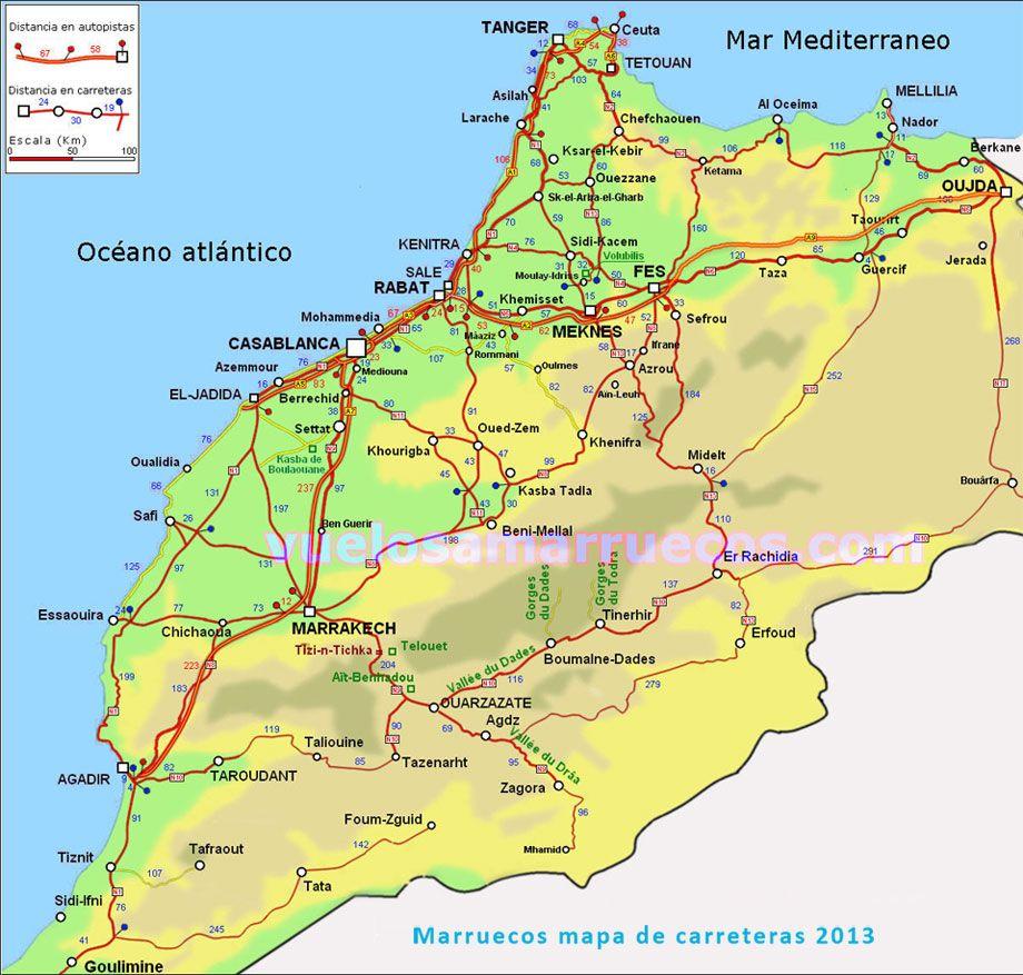 Mapa De Marruecos Ciudades.Mapa De Carreteras De Marruecos Mapas De Carreteras