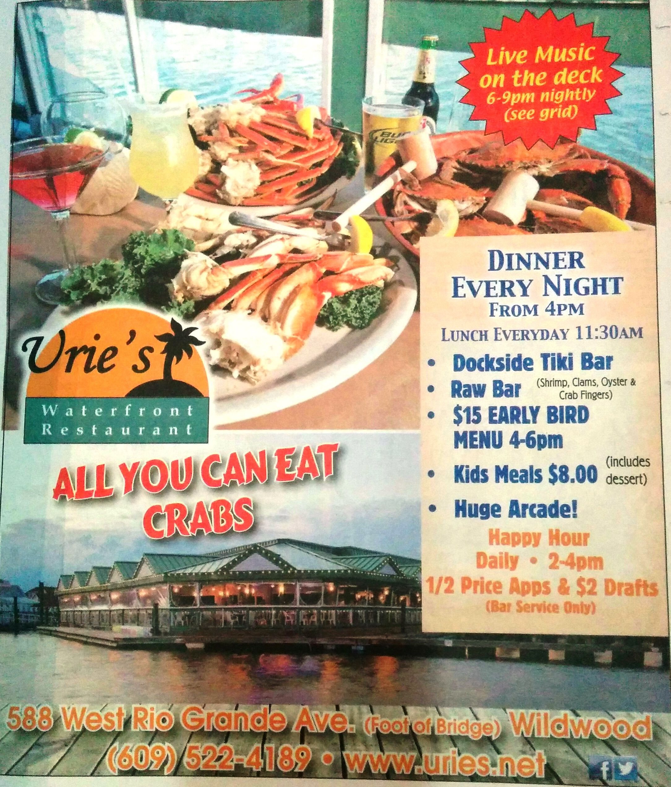 Urie S Restaurant Waterfront All You Can Eat Crabs Newspaper Herald Kids Meals Menu Restaurant Raw Bars