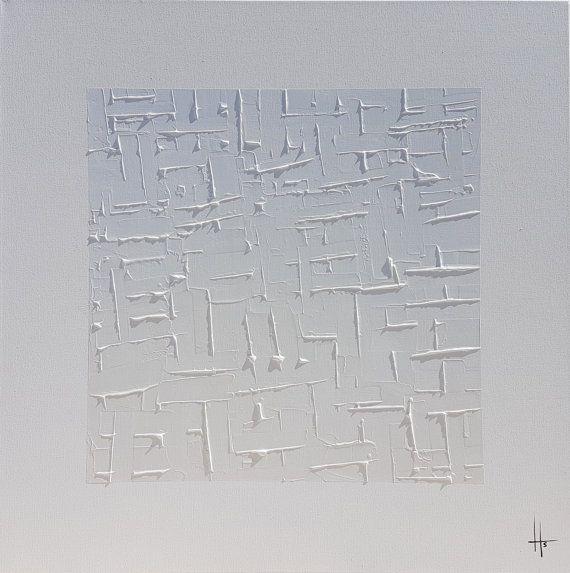 Grand tableau peinture monochrome blanc tableau peinture abstraite pinter - Peinture tableau blanc castorama ...