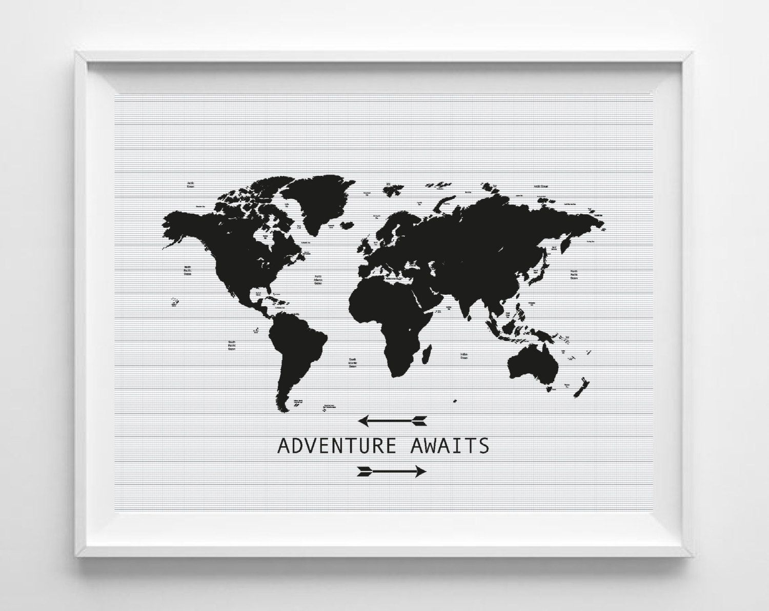 printable world map art print adventure awaits inspirational quote poster digital instant. Black Bedroom Furniture Sets. Home Design Ideas