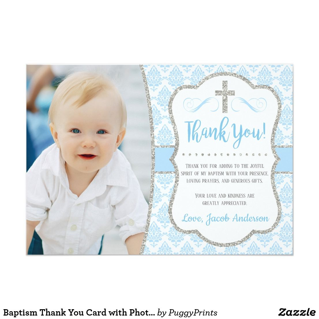 Baptism Thank You Card With Photo Boy Baptism Zazzle Com Baptism Thank You Cards Your Cards Boy Baptism