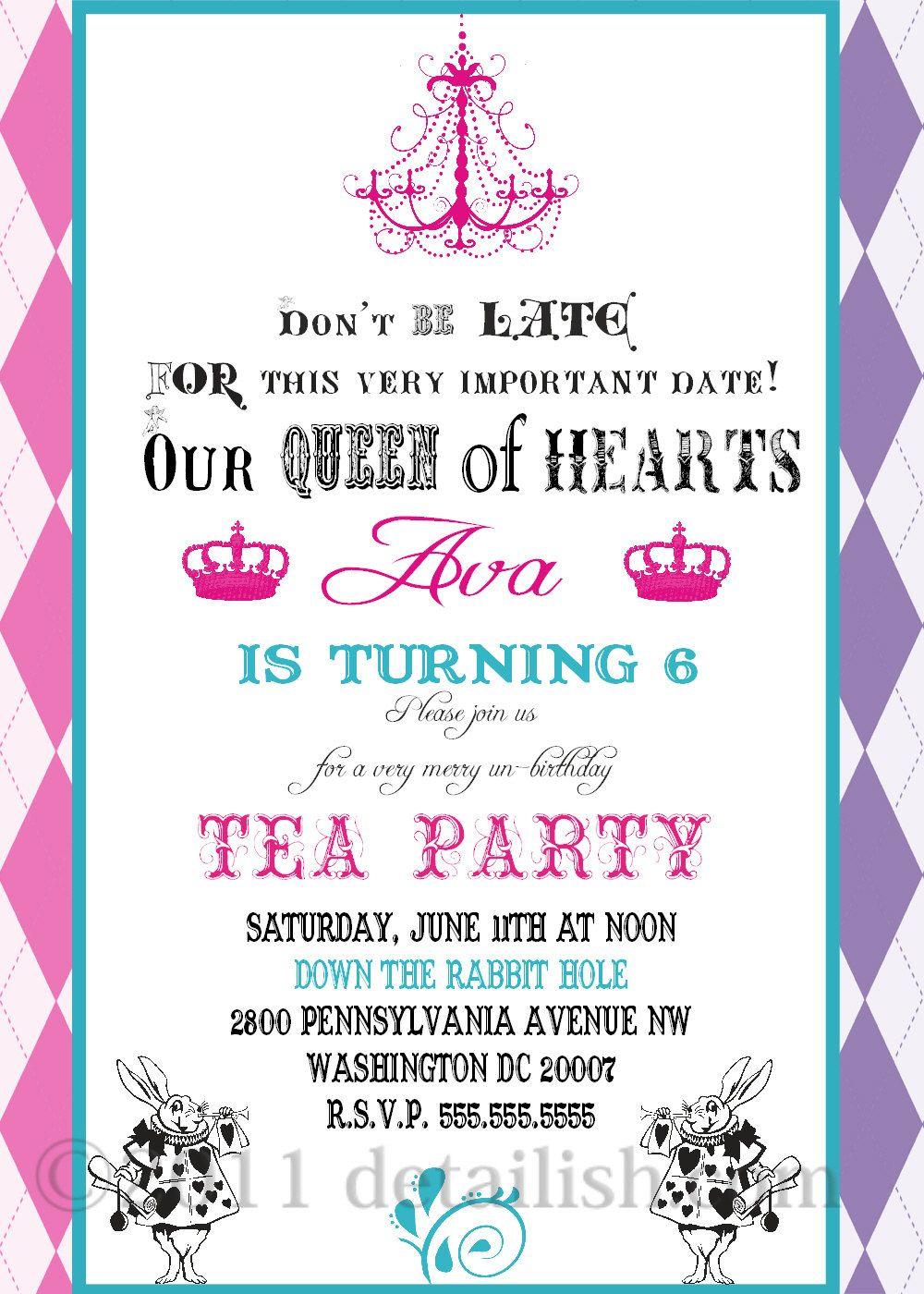 Alice in Wonderland Fancy Tea Party Invitation Birthday - Printable  304. $14.00, via Etsy.