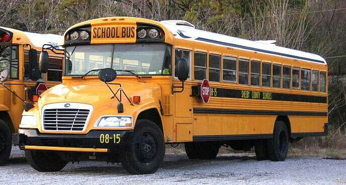 20o8 blue bird vision school bus with clear overhead led warning