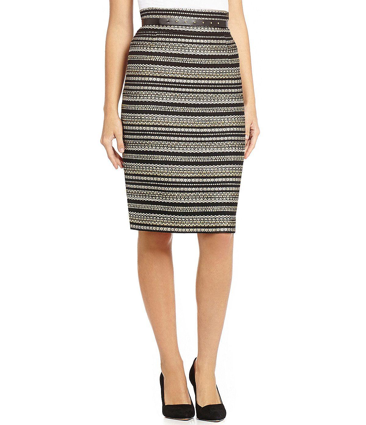 192c41a2147 Antonio Melani Berta Metallic Striped Pencil Skirt Antonio Melani Dress