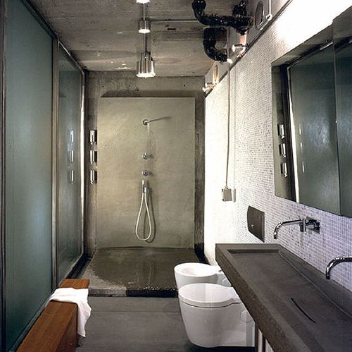 Create An Illusion Of Rough Surfaces And Materials That Suggest Industrial Past By Leaving Some Walls Bathroom DesignIndustrial Interior