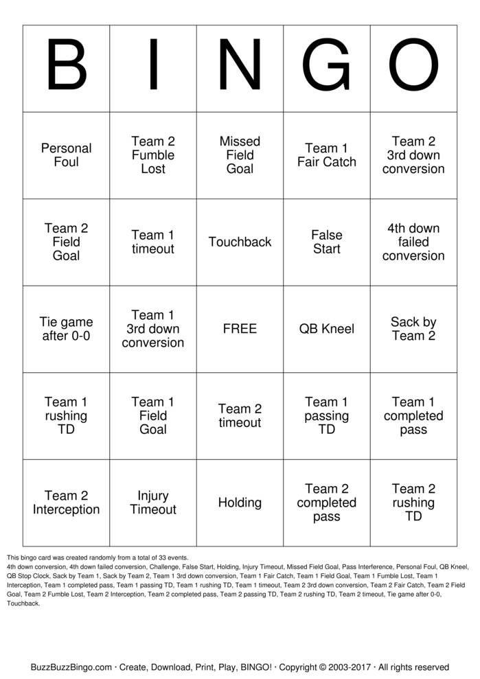 Randomly Generated Football Bingo Card. Football party? Football ...