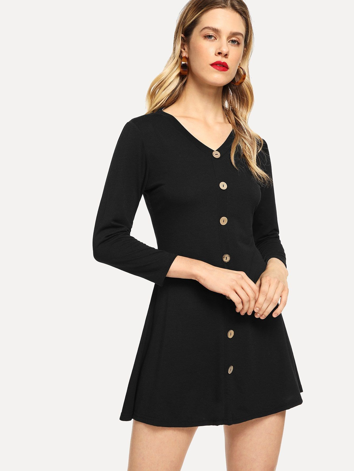 ... Dress. Casual Button Plain Shift Flared V Neck Long Sleeve Natural  Black Short Length Button Through Solid. Women s ... 564d3d17f684