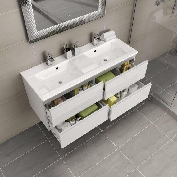 Trevia dubbele wastafel met ladenkastje wit hoogglans- 120cm | Jm ...