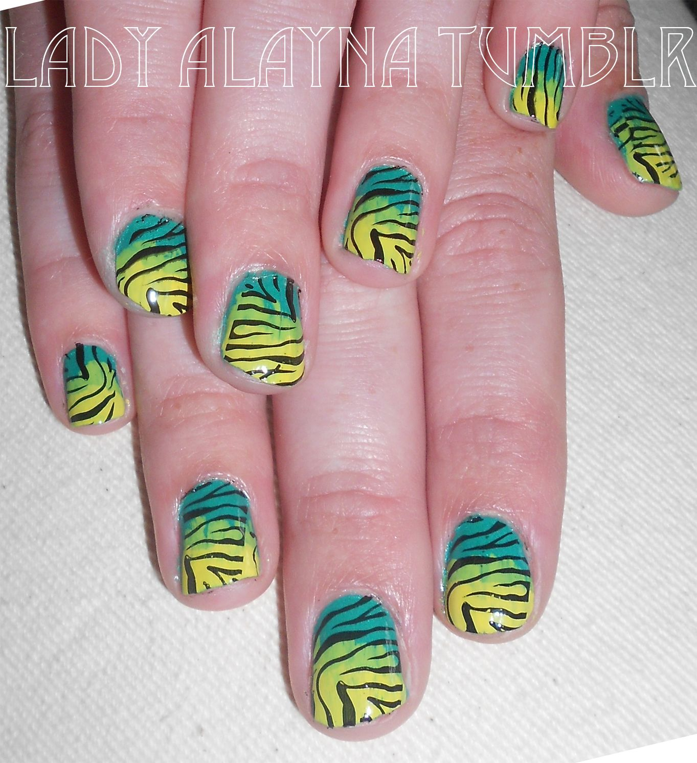 Neon-green Summer Tiger Nails for Kristen Mary Oberg! Love when i get to do other people's nails and not just my own!  Alayna Josz // www.instagram.com/ladyalayna LadyAlaynaTumblr.com  #SephoraNailSpotting #nailitdaily #nailart #nailartaddict #nailswag #NOTD #nailporn #nailgasm #ilovenails