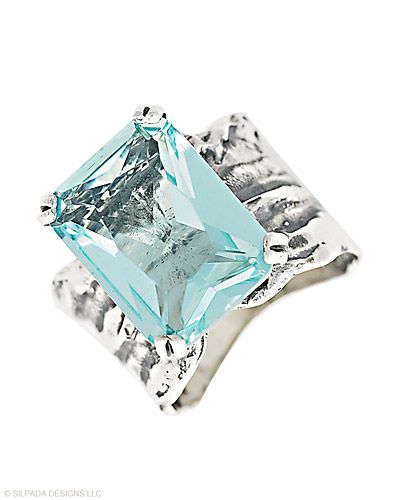 Aqua Glass and Sterling Silver Ring from Silpada