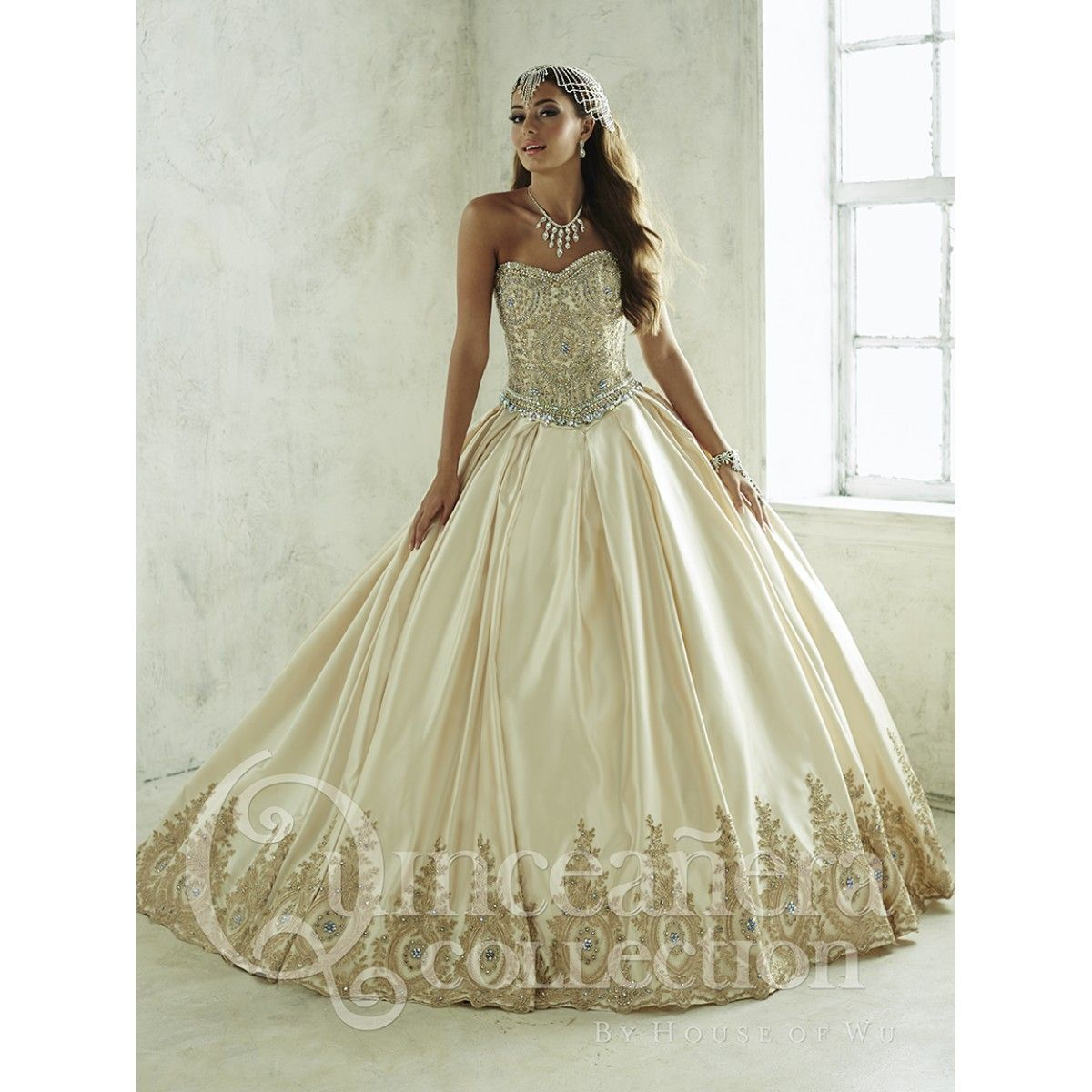 The house of wu 26826 quinceanera dress is a two piece satin ballgown featuring