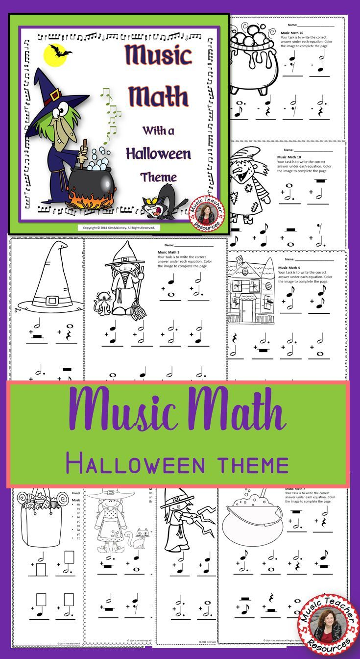Music Math 24 Halloween Music Math Worksheets Pinterest Music