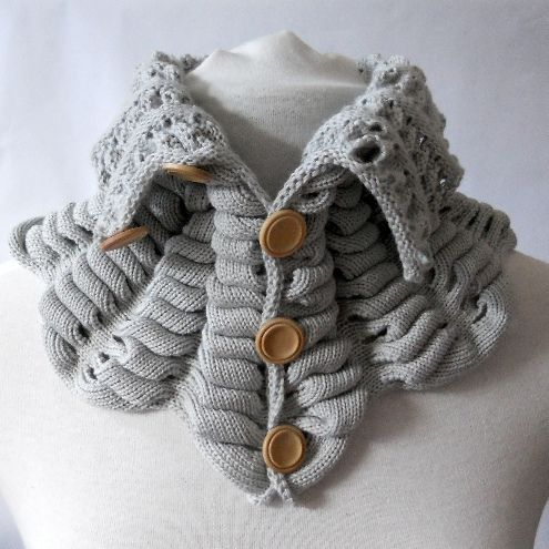 Large Collar Scarf Grey Knit Patterns Knit Cowl And Scarves