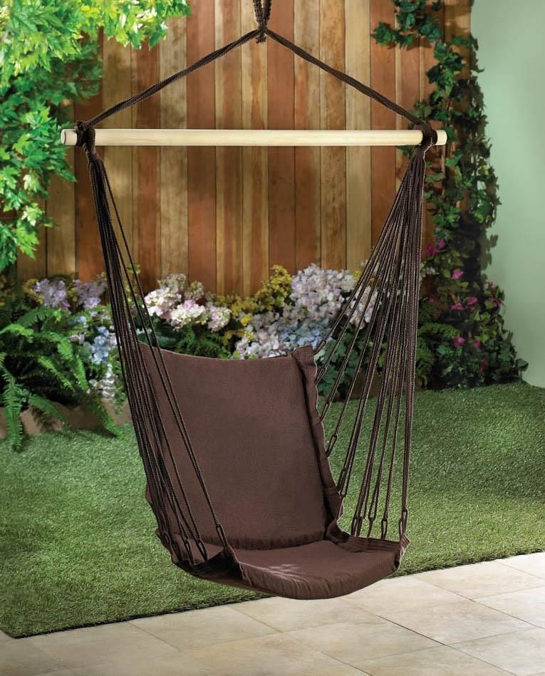 Espresso cotton padded swing chair swinging chair swing