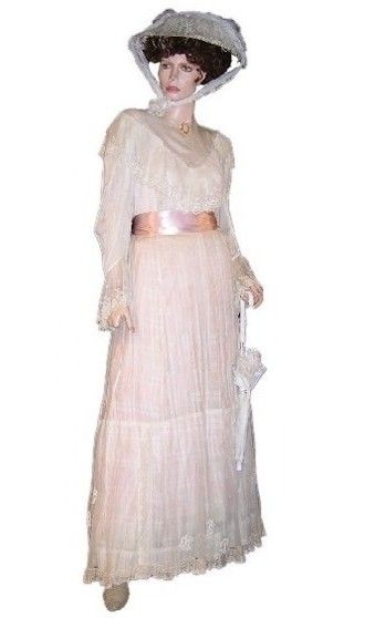 Late Victorian Summer Dress Vintage Ivory Lace 2 Pc