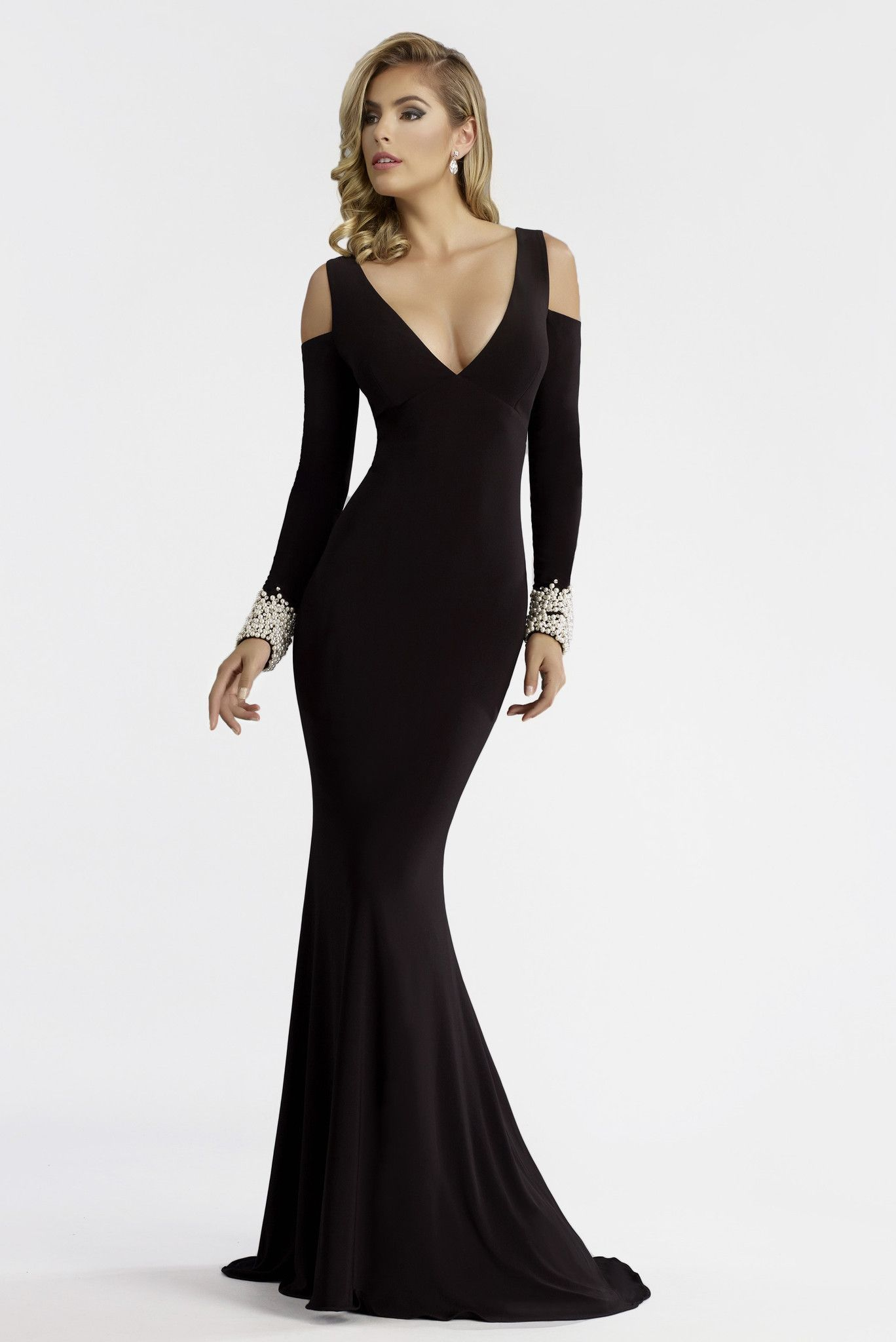243864010e2 Janique Roma Gown With Pearl Sleeves
