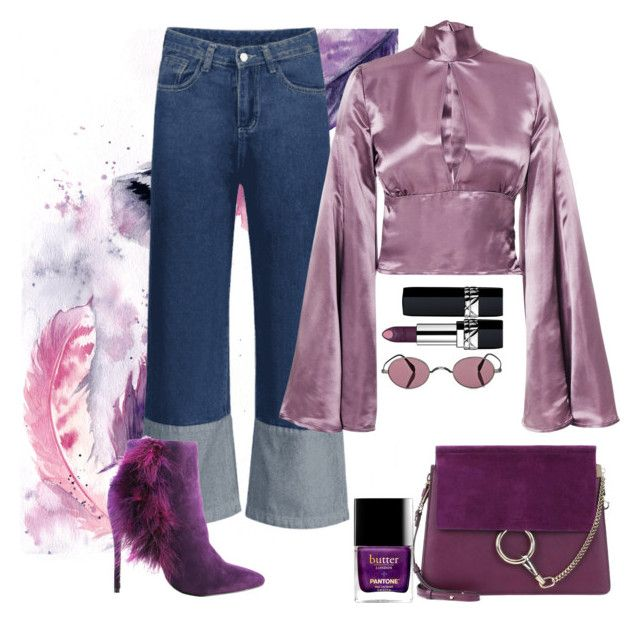 """""""Purple rain"""" by natallyl ❤ liked on Polyvore featuring Christian Dior, Chloé, Oliver Peoples, Michael Antonio and Beaufille"""
