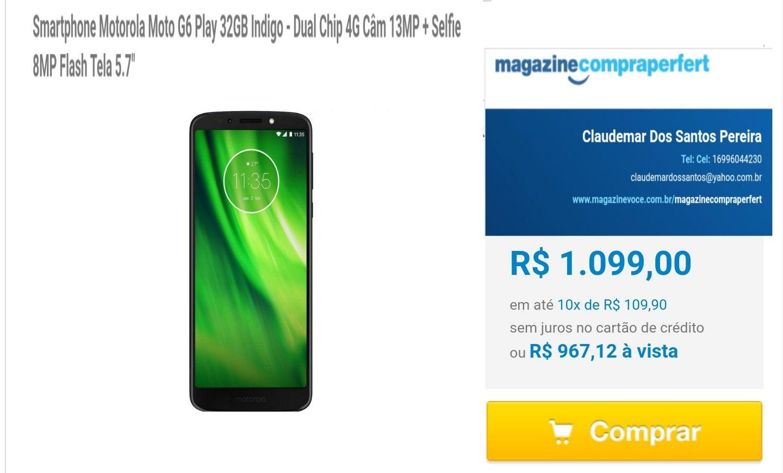 31dc8fd9bf Moto G6 Play Nova tela Max Vision 5
