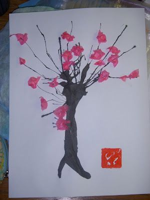 Cherry Blossom Craft For Kids I M Going To Have Them Use Fingerprints For The Flowers Blossoms Art Elementary Art Projects Asian Art
